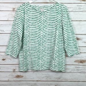 Chico's green & white striped top 3/4 sleeves